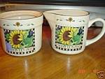 Click here to enlarge image and see more about item 2913: Susan Winget Sunflower Creamer & Sugar