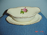 Click here to enlarge image and see more about item 2921: Syracuse China Rosalie Gravy Boat w/Attached Tray