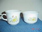 Click here to enlarge image and see more about item 3627: Corning Corelle Meadow Sugar Bowl & Creamer