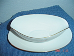 Noritake Roseville Gravy Boat w/Attached Tray