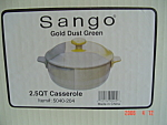 Click here to enlarge image and see more about item 8977: NEW Sango Gold Dust Green 2.5 Qt. Covered Casserole