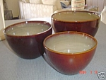 Click here to enlarge image and see more about item 4140: NEW Sango Nova Brown Mixing Bowl Set of 3 Bowls