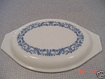 Pyrex Blue Flowered Oval Casserole Milk Glass Lid ONLY