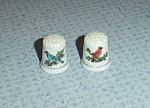 Click here to enlarge image and see more about item 4780: 2 Porcelain Bird Thimbles