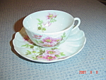 Click here to enlarge image and see more about item 58: Limoges France Giraud Eglantine Cups and Saucers