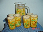 Atlas or Heisey Frosted Glass Juice Pitcher & 6 Glasses w/Gold Trim