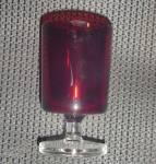 Click here to enlarge image and see more about item 7620: Vintage France Red w/Clear Pedestal Wine/Juice Goblets 1970's