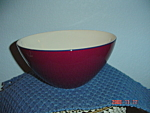 Click here to enlarge image and see more about item 889: Pagnossin Burgundy/white/Navy Mixing/Serving Bowls