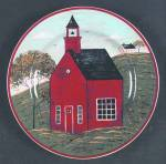 Click here to enlarge image and see more about item 9373: Sakura Country Life Red School House Salad Plate