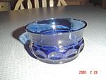 Click to view larger image of Indiana Glass Thumbprint Tiara Cobalt Dessert Bowls (Image1)