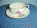 Click here to enlarge image and see more about item 994: Paden City Potteries PCP15 Pink Rose Cups/Saucers