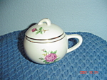 Click here to enlarge image and see more about item 996: Paden City Potteries PCP15 Pink Rose Covered Sugar Bowl