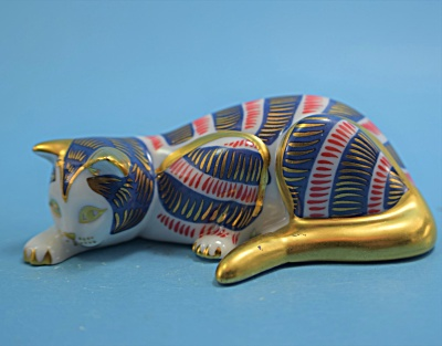 Franklin Mint Red Bold Gold Deco Cat  (Image1)