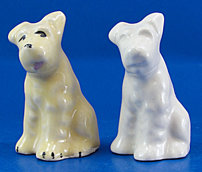 1930s/1940s Small Pottery Terrier Dog Pair