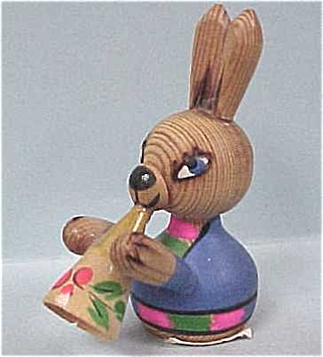 Ussr Folk Art Handpainted Mini Wood Bunny