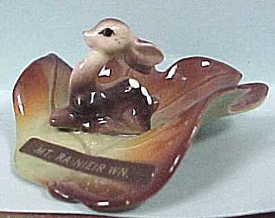 1940s McFarlin Pottery Miniature Deer on Leaf (Image1)