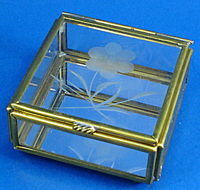 Miniature Glass Trinket Box, Flower Design