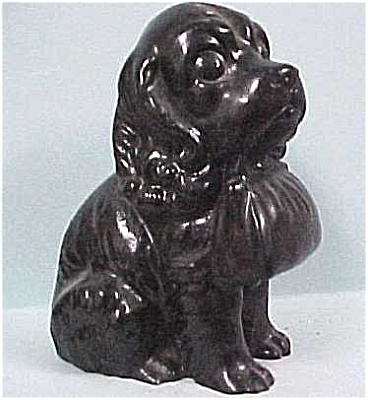 Coal Resin Puppy Holding Purse