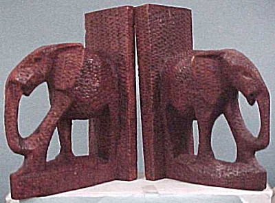 Carved Wood Elephant Bookends (Image1)