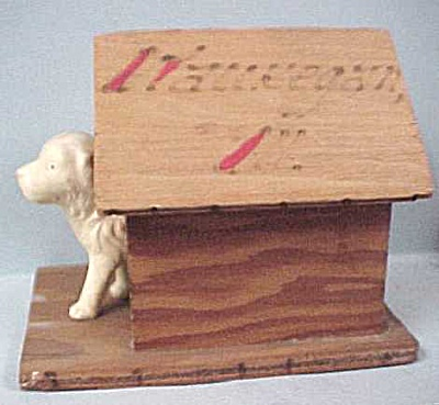 1930s/1940s Celluloid Dog In Wood Doghouse