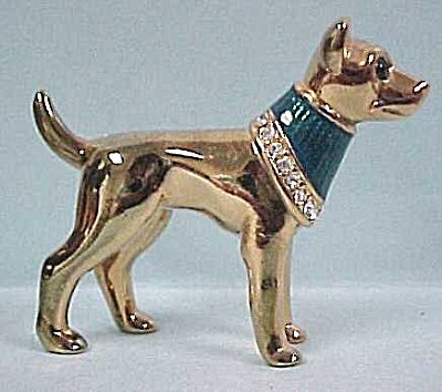 Miniature Golden Dog With Rhinestones