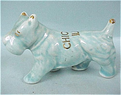 1930s/1940s US Pottery Blue Scottish Terrier Dog (Image1)