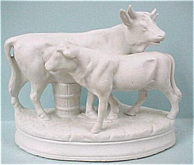 c1900 German Bisque Cow and Calf (Image1)