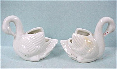 Two Unmarked Porcelain Swan Toothpick Holders
