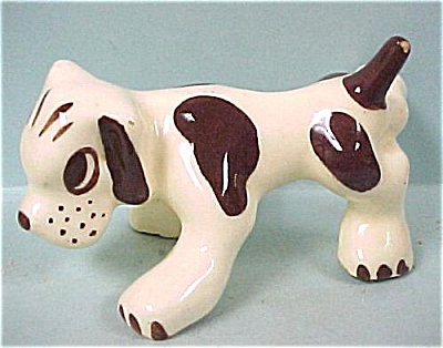 1930s/1940s Pottery Dog with Raised Leg (Image1)