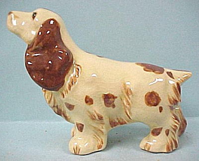 1940s Unmarked Pottery Spaniel Dog