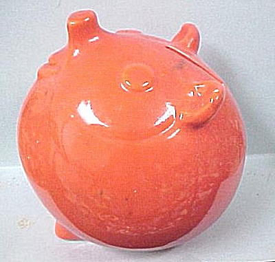 Unusual Orange Pottery Ball Shaped Pig Bank