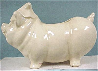 1930s/1940s White Pottery Pig Planter (Image1)