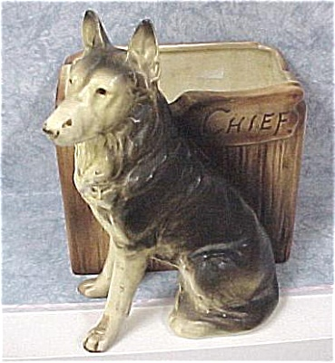 Ceramic German Shepherd Named Chief Planter (Image1)