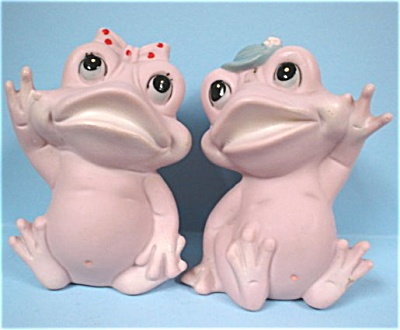 Unmarked Japan Pink Bisque Frog Pair