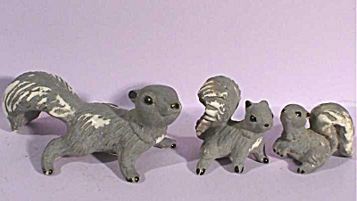Napco Miniature Matte Grey Squirrel Family