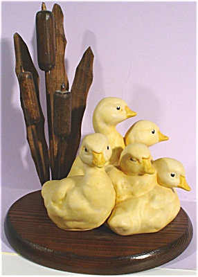 Ceramic Ducklings On Wood Base With Cattails