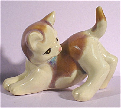 1940s/1950s Pottery Drip Glaze Playing Cat