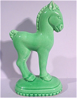 1930s/1940s Pottery Pony on Base (Image1)