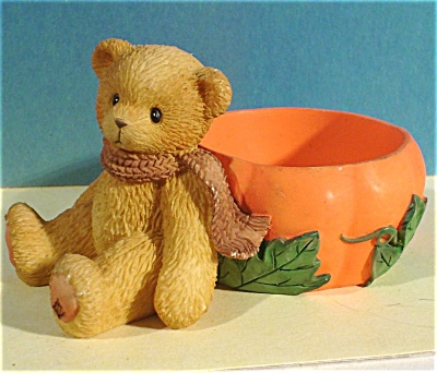 1998 Enesco Cherished Teddies Bear With Pumpkin Dish