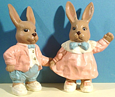 Ceramic Boy And Girl Bunny Rabbit Pair