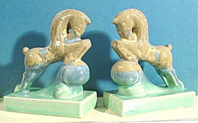 Art Glaze Pottery Miniature Horse Bookends (Image1)