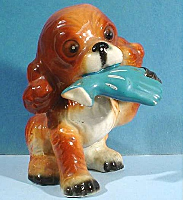 1950s Arnart Japan Ceramic Spaniel Puppy With Glove