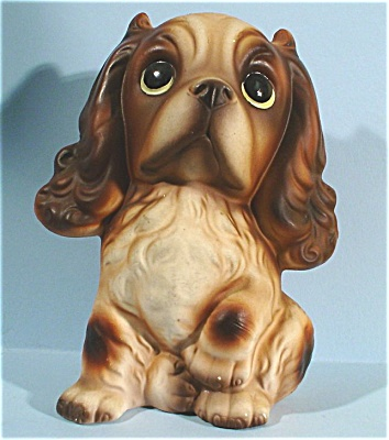 1960s/1970s Japan Ceramic Big Eye Spaniel Puppy (Image1)