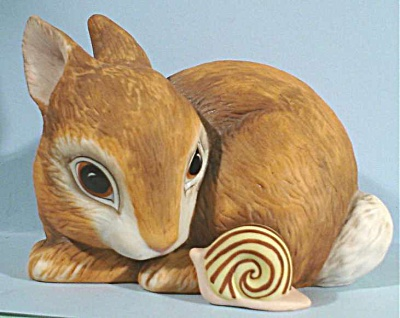1984 Franklin Mint Porcelain Bunny Rabbit and Snail (Image1)