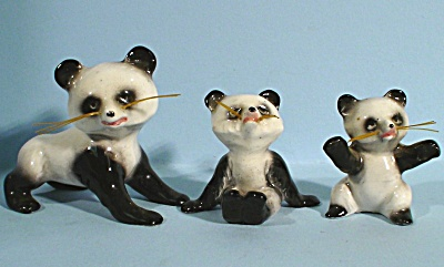 1950s/1960s Miniature Bone China Panda Family (Image1)