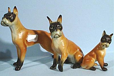 Japan Miniature Bone China Boxer Dog Family (Image1)