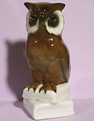 German Porcelain Owl On Books