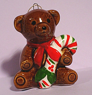 Pottery Bear Christmas Ornament