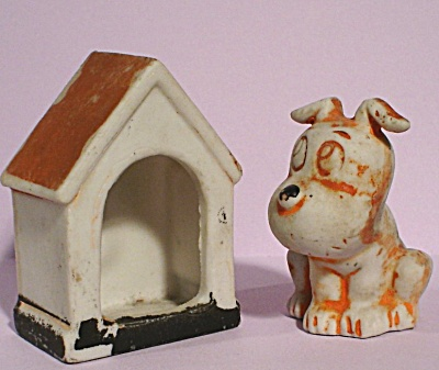 1920s/1930s Bisque Porcelain Dog And Doghouse