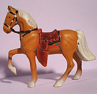 1960s Painted Pot Metal Western Horse